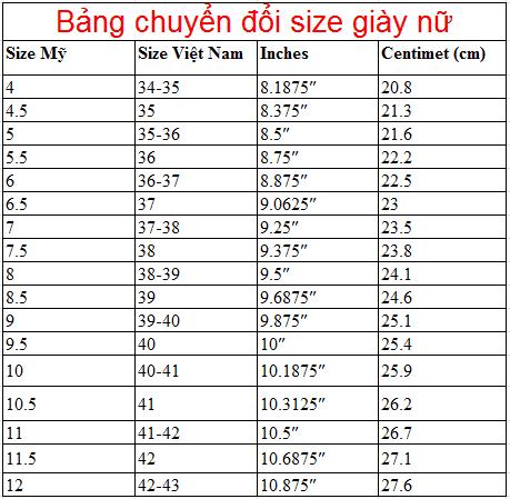 cách tính size giày
